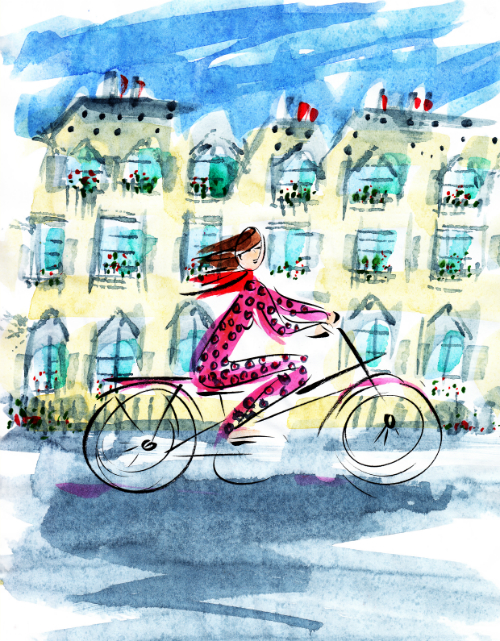 2039 Paris woman on Bike 500x641